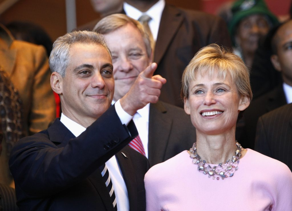 Associated Press/Charles Rex Arbogast In this May 16, 2011, file photo, Chicago Mayor-elect Rahm Emanuel, left, and his wife, Amy Rule, look out into the crowd during his inaugural ceremony in Chicago. Emanuel, a Democratic congressman and chief of staff to President Barack Obama before becoming mayor in 2011, announced Tuesday, Sept. 4, 2018, that he won't seek a third term in 2019.