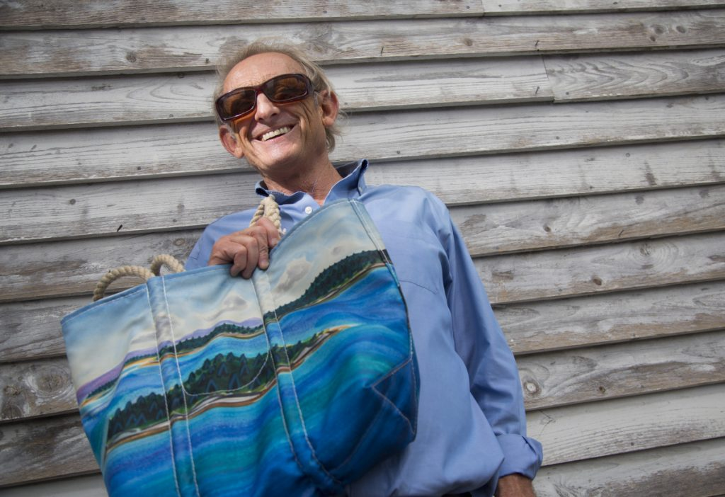 Part of the proceeds from sales of bags with Eric Hopkins' design will benefit Maine Coast Heritage Trust.
