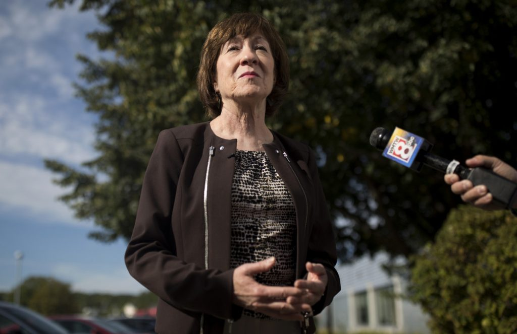Sen. Susan Collins speaks with members of the press about Brett Kavanaugh's Supreme Court nomination after a tour of the healthcare company Abbott Laboratories in Scarborough.