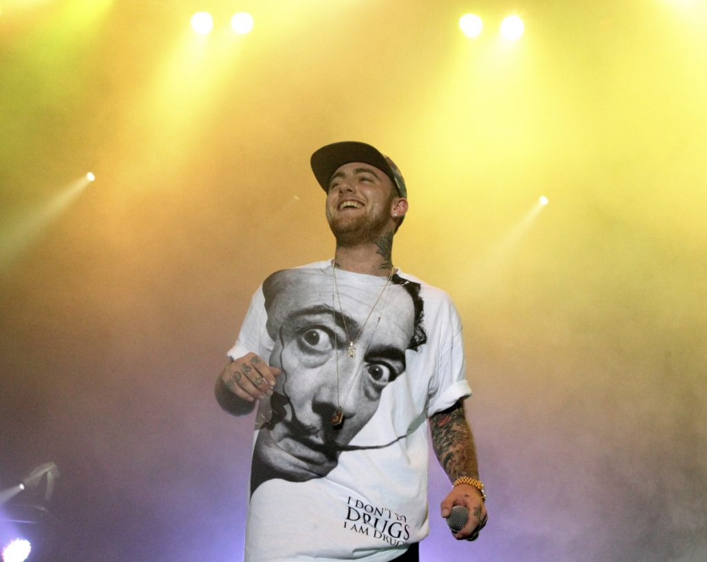 Rapper Mac Miller performs during his Space Migration Tour at Festival Pier in Philadelphia in July 2013.