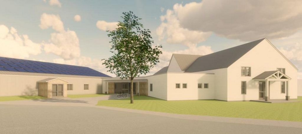 A groundbreaking ceremony for the Wescustogo Hall & Community Center, due to open in 14 months, will be held at 120 Memorial Highway, North Yarmouth, on Thursday. The center will sit next to the renovated former North Yarmouth Memorial School and be attached to it through a lobby.