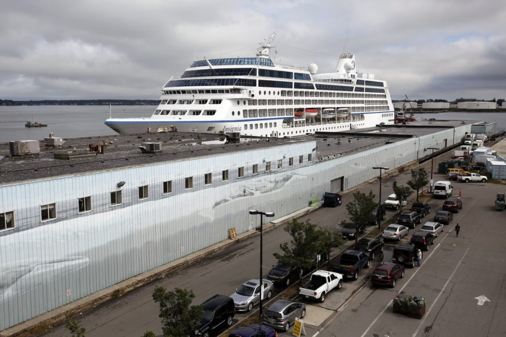 The cruise ship Insignia is docked in Portland on Tuesday to wait out the Hurricane Florence, and other cruise ships are expected to do the same.