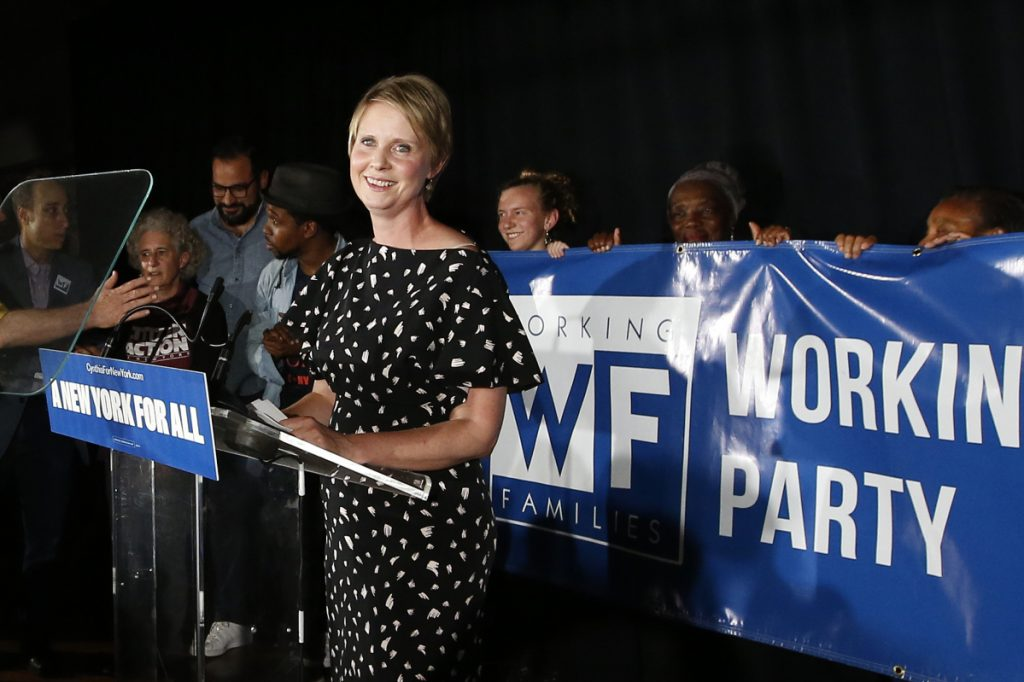 Gubernatorial candidate Cynthia Nixon delivers her concession speech at the Working Families Party primary night party, Thursday, Sept. 13, 2018, in New York. New York Gov. Andrew Cuomo easily beat Nixon in Thursday's contest to win his party's nomination for a third term.