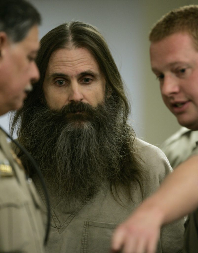 "Brian David Mitchell, whose ""visions"" led him and Wanda Barzee to kidnap Elizabeth Smart, is seen at a court proceeding in 2005."