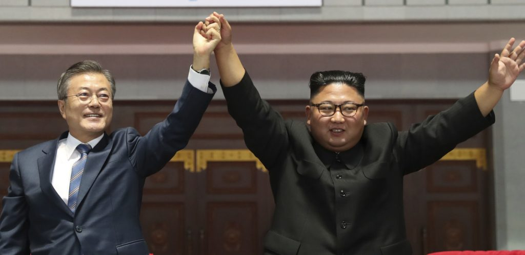 South Korean President Moon Jae-in and North Korea's Kim Jong Un meet Wednesday in Pyongyang. They vowed to work together to try to host the 2032 Summer Olympics.