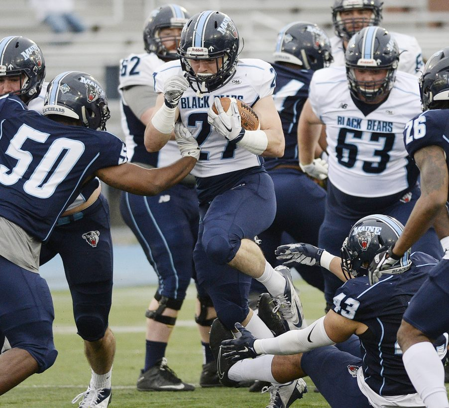 Joe Fitzpatrick, a Cheverus High graduate, has become Maine's go-to running back in late-game situations. He is averaging 81 yards per game while sharing time with freshman Ramon Jefferson.