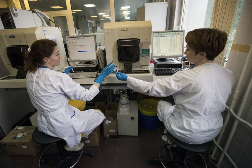 Employees work in Russia's national drug-testing laboratory in Moscow in 2016.