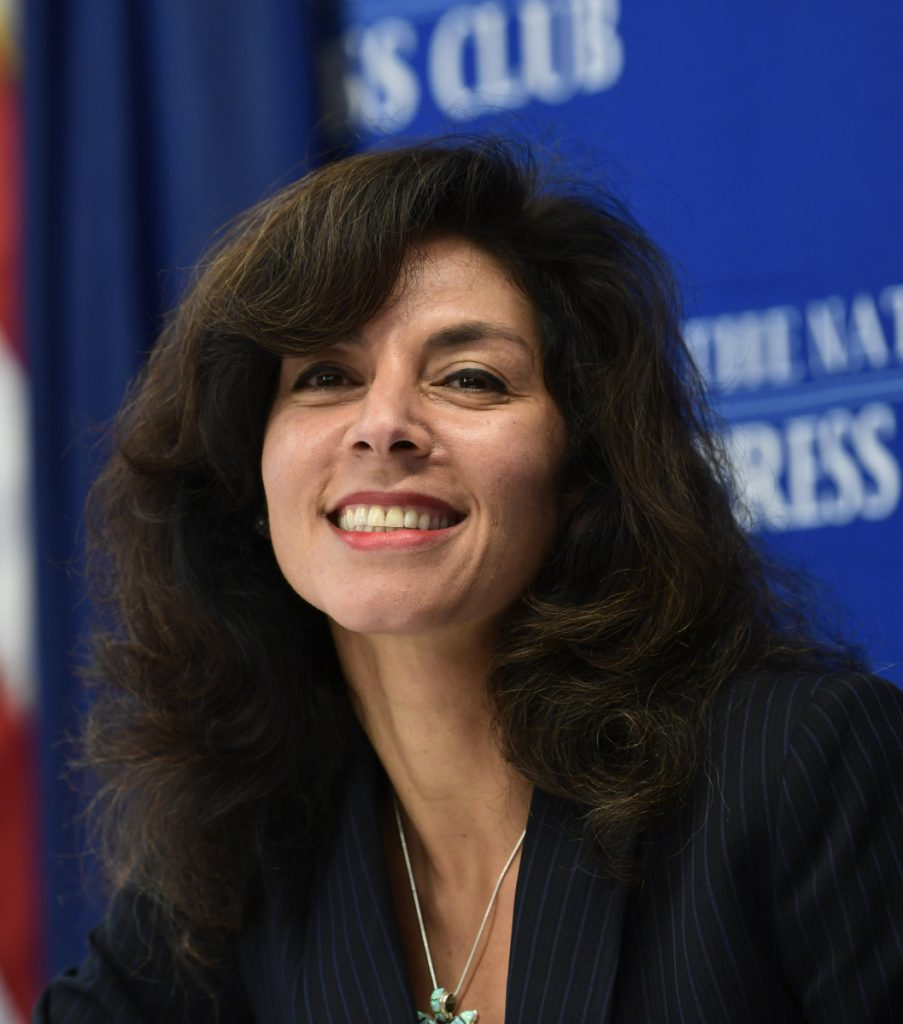 Ashley Tabaddor, a federal immigration judge in Los Angeles, is introduced to speak at the National Press Club on Friday.