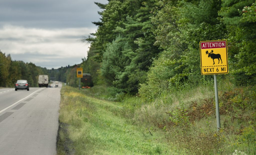 A sign on I-95 in Sidney alerts motorists to an elevated chance of moose being in the road over the next six miles. Such warning signs are placed where there are known concentrations of moose or a history of collisions.