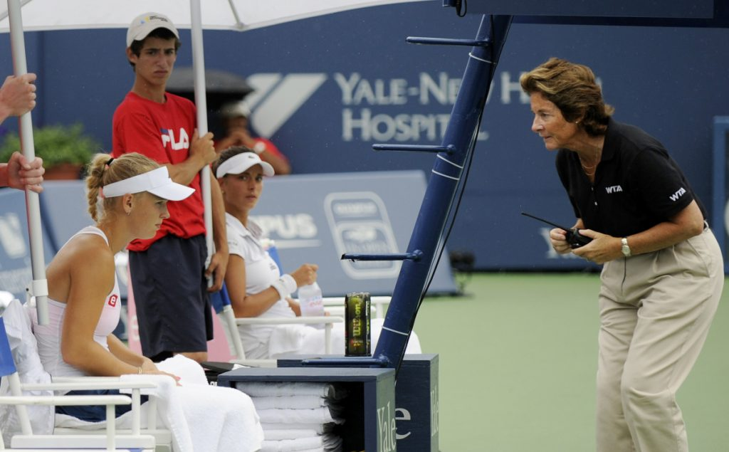 Lynn Welch, right, of South Portland, umpired at all four Grand Slams during her long career as a tennis official, and found it hard to take a side during the U.S. Open controversy between Serena Williams and umpire Carlos Ramos.
