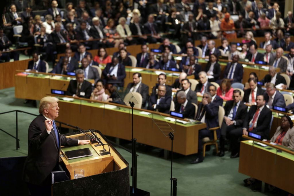 President Trump speaks at the United Nations in New York last Sept. 19. He returns this week to again address the General Assembly, chair the Security Council for the first time and meet with world leaders.