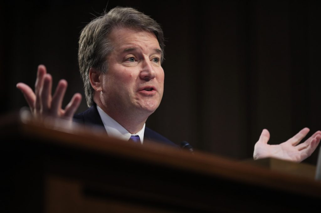 "Supreme Court nominee Brett Kavanaugh testifies before the Senate Judiciary Committee this month. In a defiant letter to leaders of the committee, Kavanaugh said he would ""not be intimidated into withdrawing from this process."""
