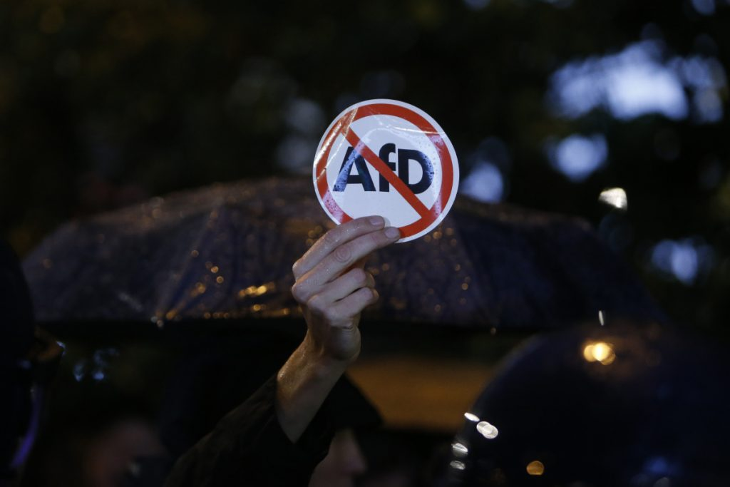 Police block demonstrators protesting against the nationalist Alternative for Germany, or AfD, party in Berlin on  Monday.