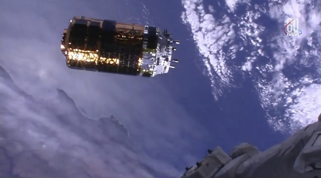 In this image from video made available by NASA, the Japan Aerospace Exploration Agency's Kounotori H-II Transfer Vehicle approaches the International Space Station on Thursday.