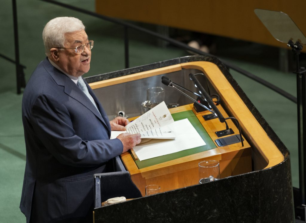 Palestinian President Mahmoud Abbas addresses the 73rd session of the United Nations General Assembly, at U.N. headquarters on Thursday.