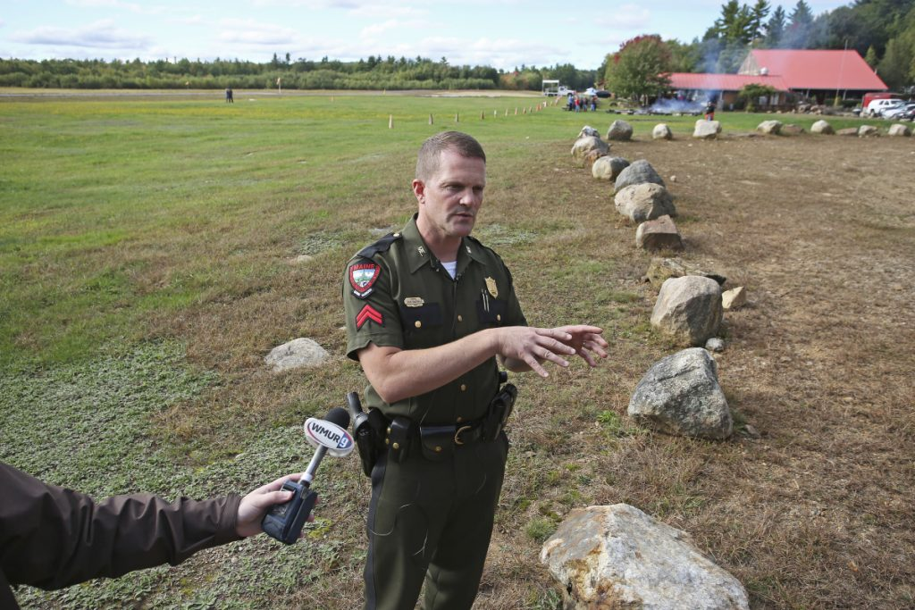 Cpl. John MacDonald of the Maine Warden Service updated the press in September on the search for the body of Brett Bickford at Skydive New England in Lebanon. Investigators have concluded that Bickford's death during a tandem jump on Sept. 27 was a suicide.