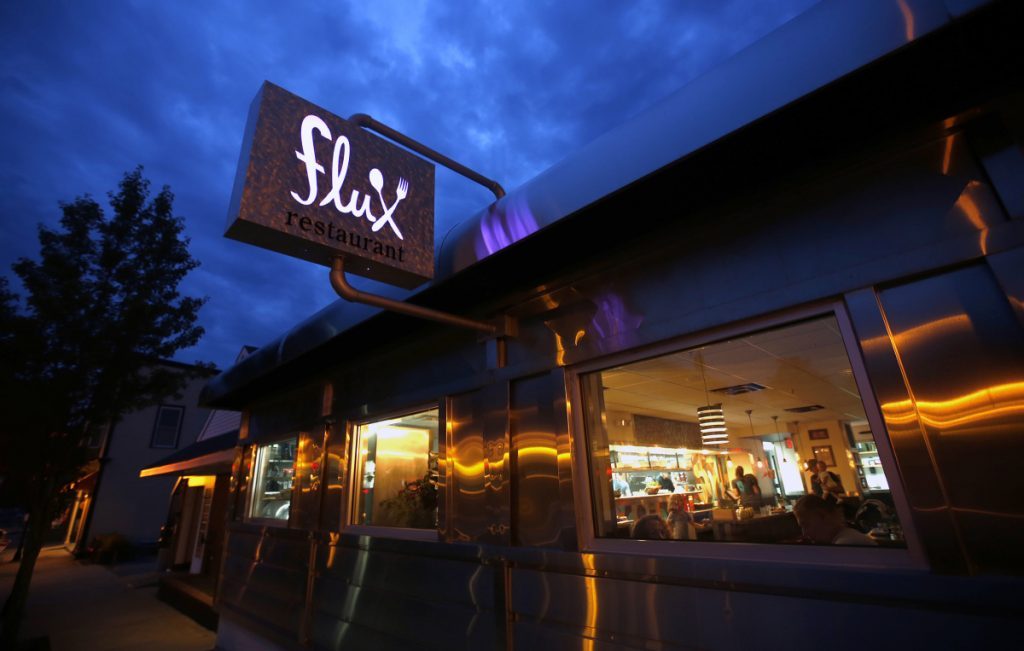 The facade at Flux on Main Street in Lisbon Falls. Chef/owner Jason LaVerdiere and his brother, general manager/owner Tyson LaVerdiere, gutted and renovated the former diner themselves.