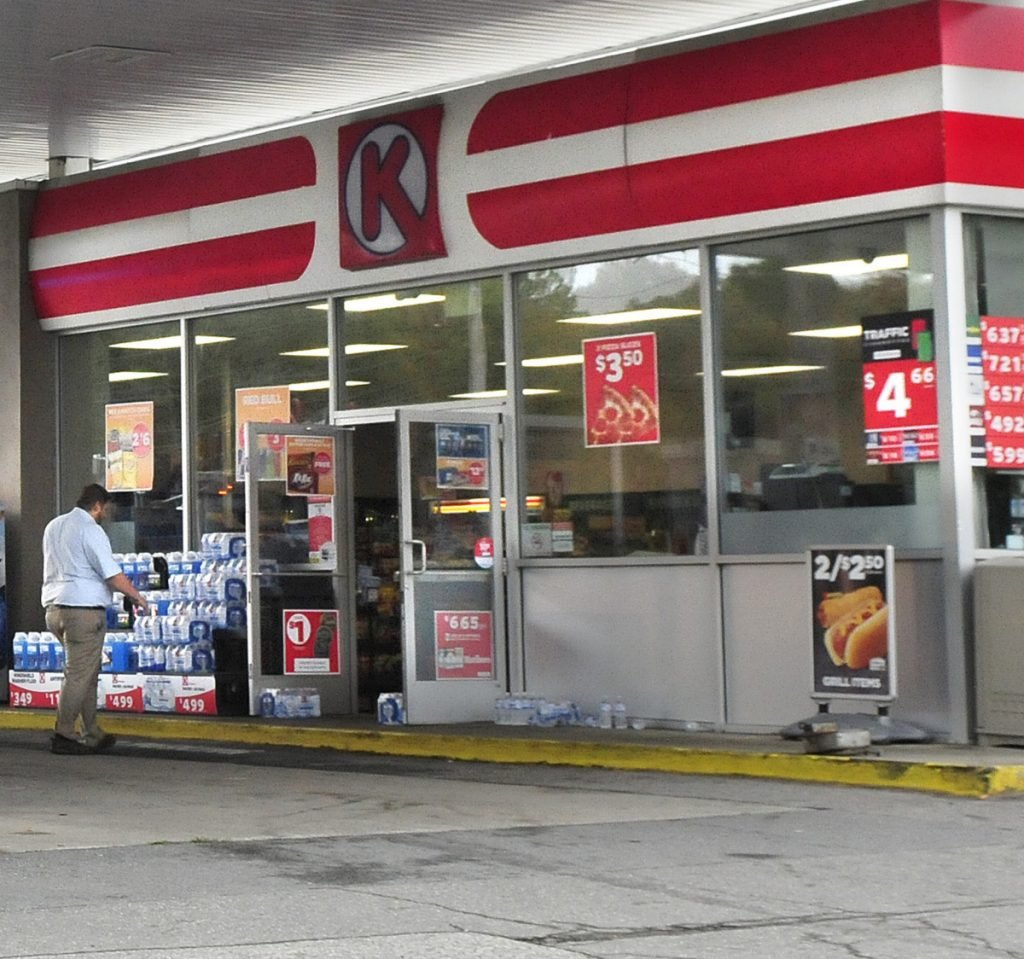 A Circle K employee re-enters the store in Skowhegan in 2017.