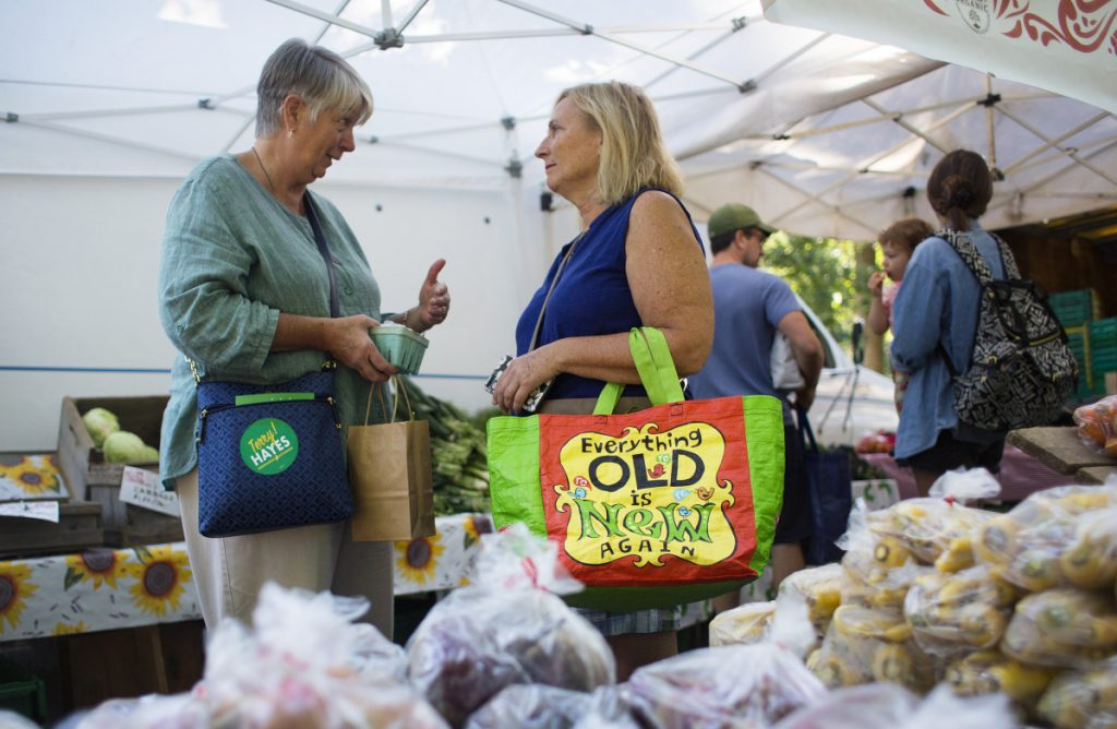 "Independent Terry Hayes, left, talks with Carol Schiller of Portland at the Deering Oaks farmers market on Sept. 15. Hayes is state treasurer and a former Democrat. She wants to change the political culture in Augusta, where she says partisanship has ""blossomed."""