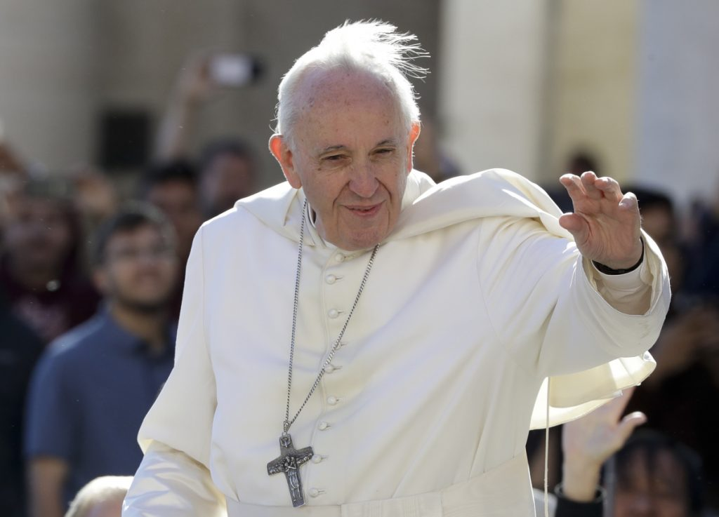 Pope Francis arrives for his weekly general audience in St. Peter's Square at the Vatican last Wednesday.