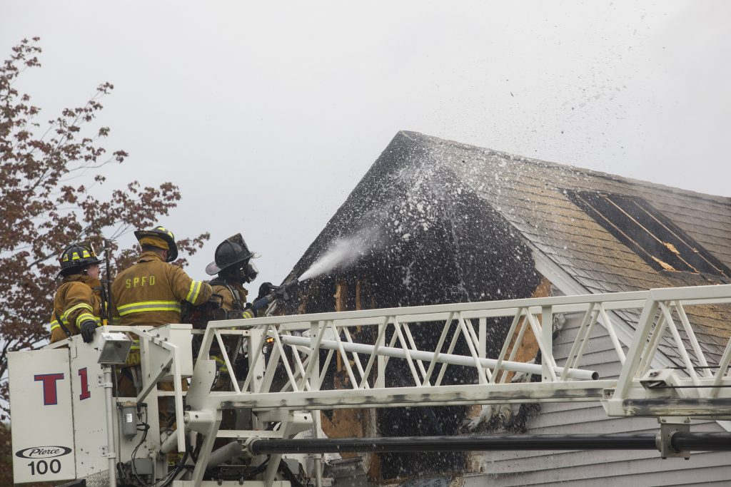 Firefighters put out a fire in the second floor of a single family home at 12 Calais Street in South Portland on Tuesday morning.