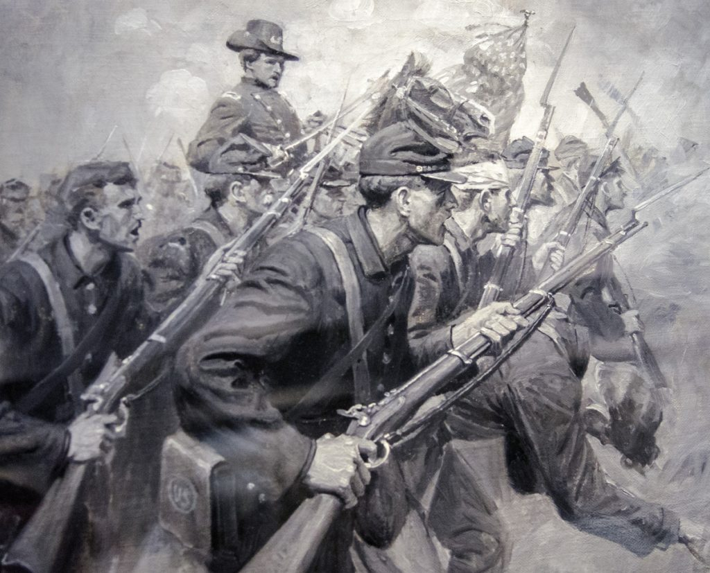 "A painting given to Augusta by accomplished artist and city native William Herbert ""Buck"" Dunton, depicting Civil War scenes, is seen Friday at Augusta City Center."
