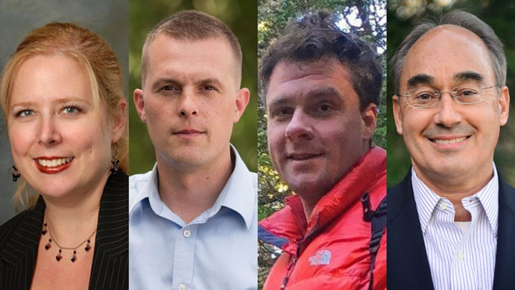 From left, Tiffany Bond, Jared Golden, Will Hoar and Bruce Poliquin are running for U.S. House of Representatives in Maine's 2nd Congressional District.