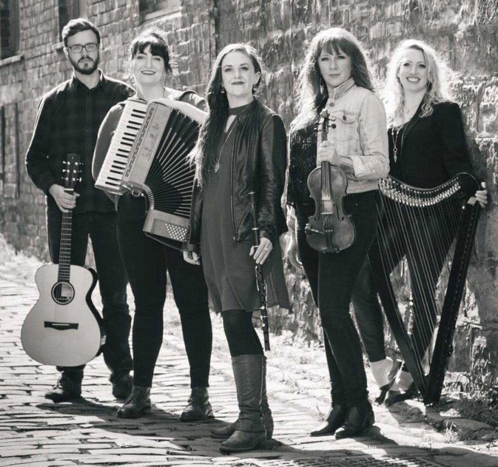 The Outside Track band members, from left, are Michael Ferrie, Fiona Black, Teresa Horgan, Mairi Rankin and Ailie Robertson.