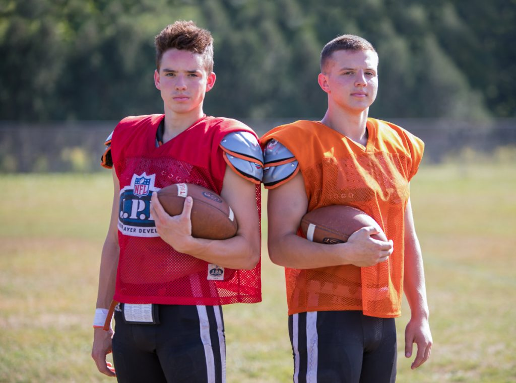 Sean Michaud, left, and brother Cameron Michaud start for the Gardiner football team this season. Sean at quarterback and Cameron at running back.