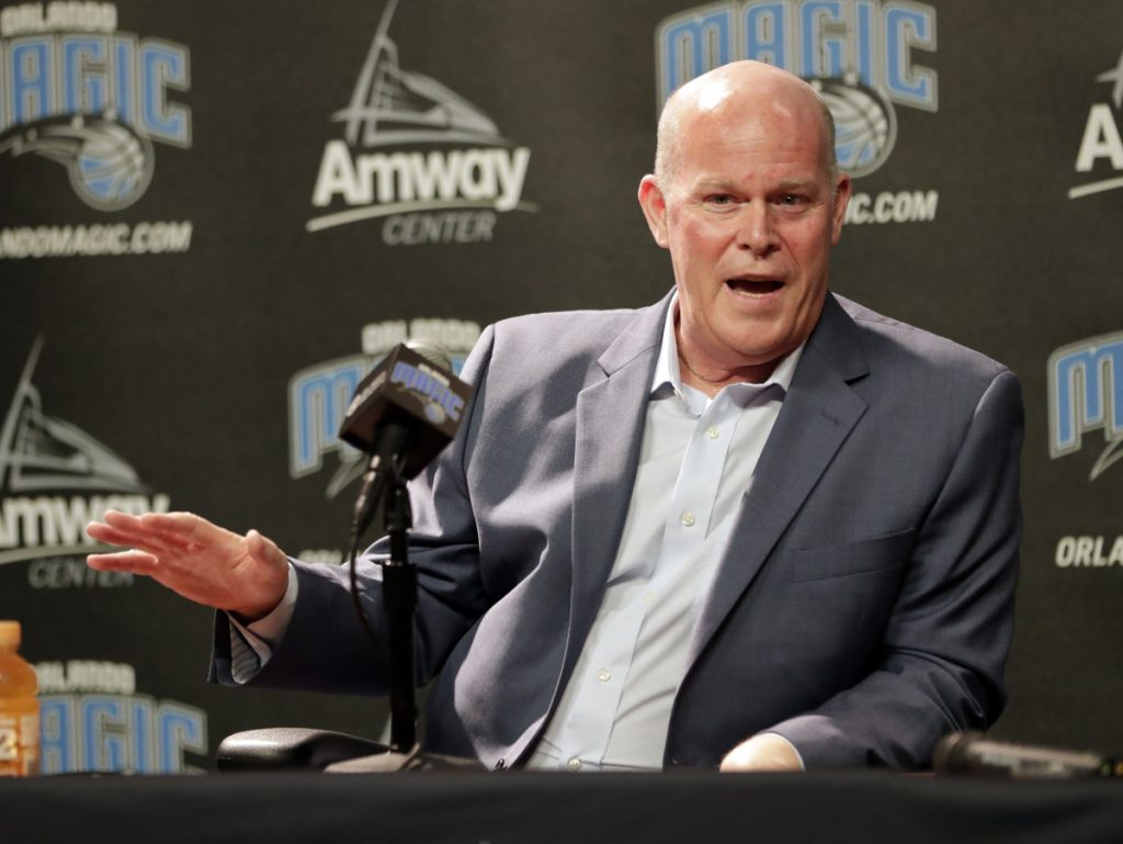 Orlando Magic new head coach Steve Clifford answers questions at a May 30 news conference in Orlando.