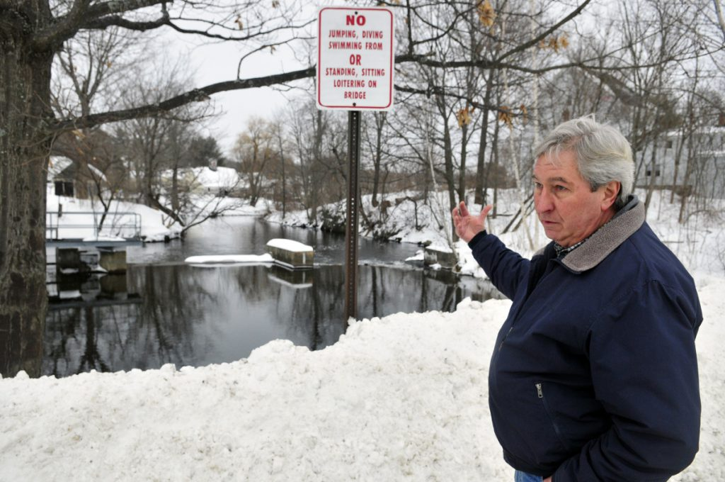 Tom Heiss talks about construction plans on Feb. 15, 2017 at his home next to the Maranacook dam in Winthrop.