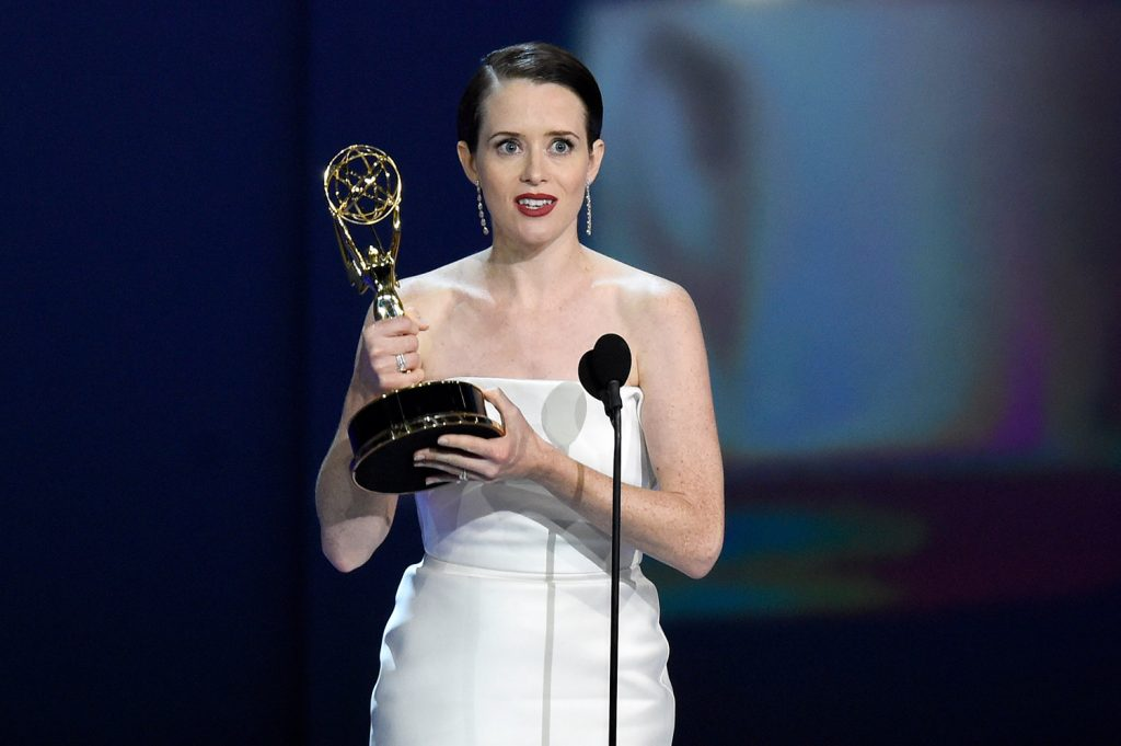"Claire Foy accepts the award for outstanding lead actress in a drama series for ""The Crown"" at the 70th Primetime Emmy Awards on Monday at the Microsoft Theater in Los Angeles."