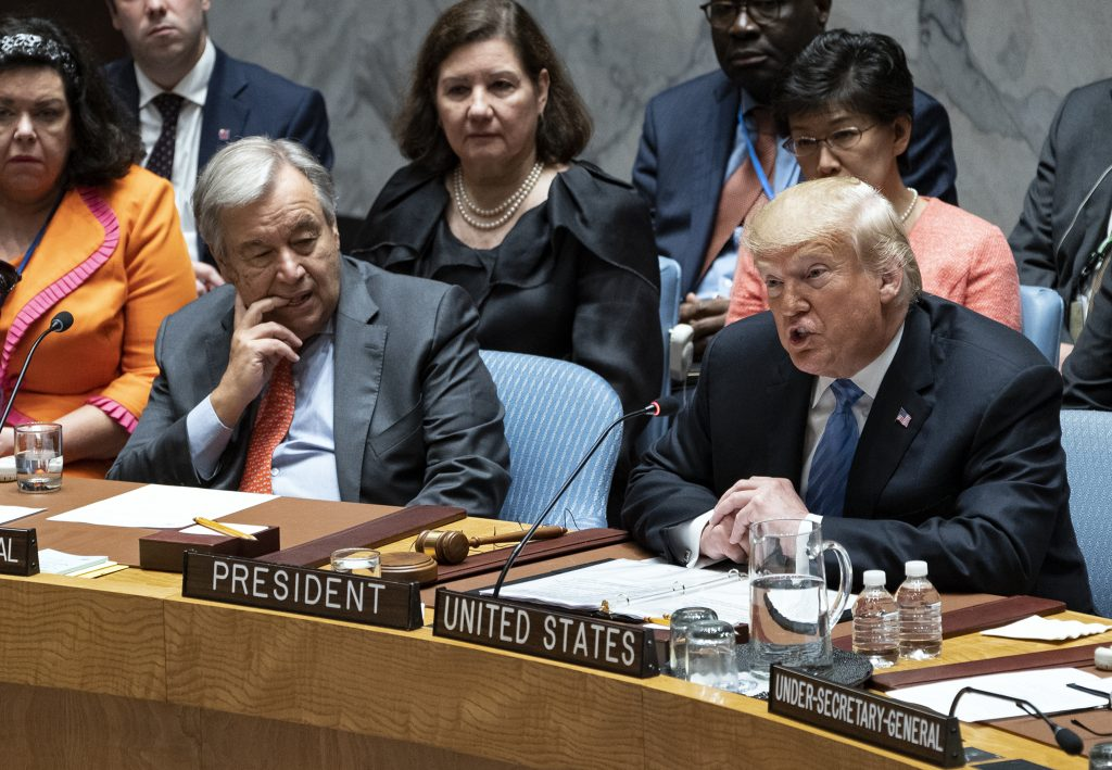 President Donald Trump addresses the United Nations Security Council during the 73rd session of the United Nations General Assembly, at U.N. headquarters, Wednesday, Sept. 26, 2018. Left is United Nations Secretary-General Antonio Guterres.
