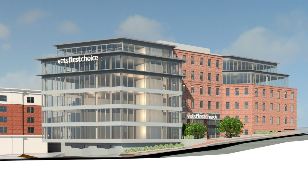 A rendering of the proposed Vets First Choice headquarters.