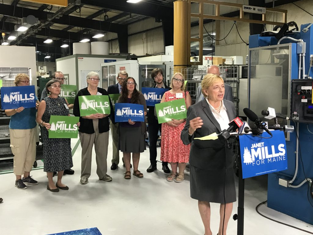 "Attorney General Janet Mills, the Democratic candidate for governor, unveiled her economic ""action plan"" Tuesday on the factory floor of Kennebec Technologies in Augusta"