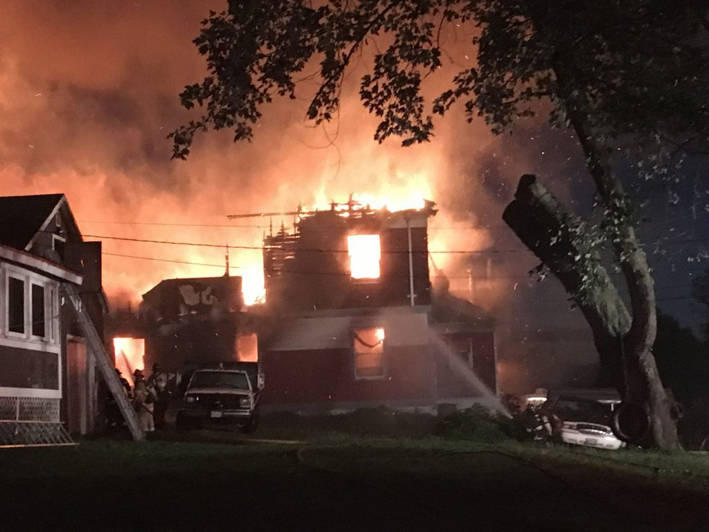 Fire destroys a home in Woolwich on Monday morning.