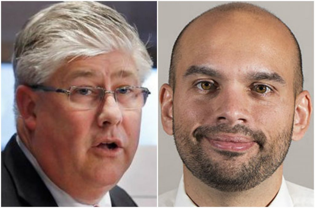 At-large City Councilor Nicholas Mavodones, left, is has a 700-vote lead over Joey Brunelle, who is requesting a recount.