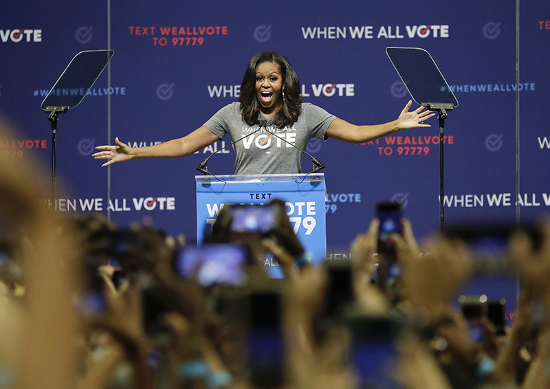 Former first lady Michelle Obama speaks at a rally to encourage voter registration on Friday in Florida.