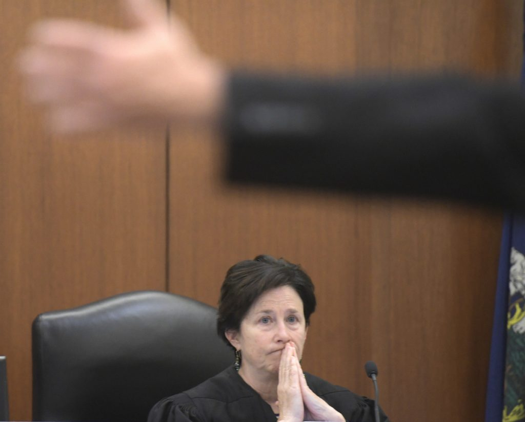 Justice Michaela Murphy listens Deputy District Attorney Paul Cavanaugh making a closing argument Monday during the trial of Scott Bubar at the Capital Judicial Center in Augusta. Bubar, 41, of Brunswick, was indicted on charges of aggravated attempted murder of Sgt. Jacob Pierce and reckless conduct with a dangerous weapon, both of which allegedly occurred May 19, 2017, at a mobile home at 1003 Oakland Road, Belgrade, near the Oakland town line.