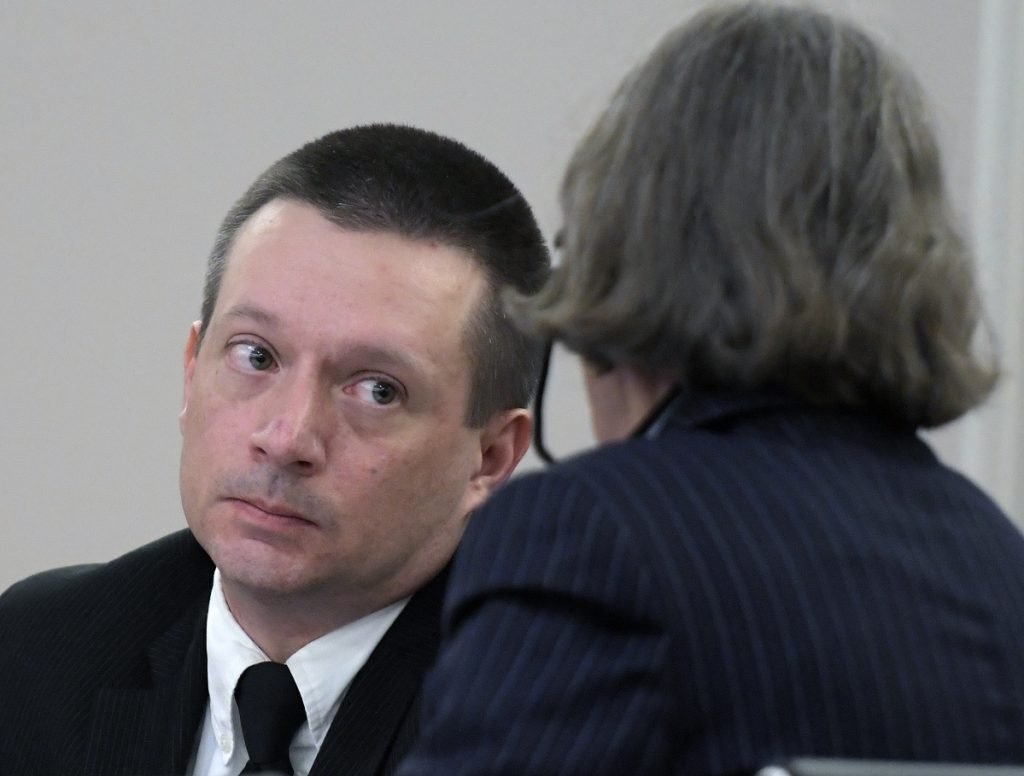 Scott Bubar speaks with his attorney, Lisa Whittier, during the closing arguments of his trial on Monday at the Capital Judicial Center in Augusta. Bubar, 41, of Brunswick, is standing trial on charges of aggravated attempted murder of Sgt. Jacob Pierce and reckless conduct with a dangerous weapon, both of which allegedly occurred May 19, 2017, at a mobile home at 1003 Oakland Road, in Belgrade.