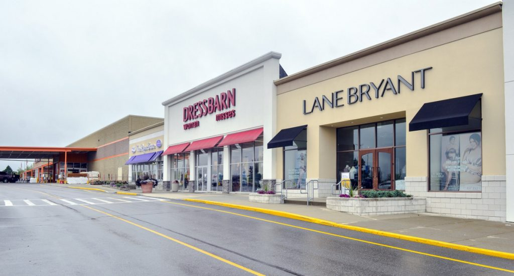 Dressbarn and other stores in the Marketplace at Augusta are shown in this Aug. 14 photo. A proposal to allow brew pubs, bakeries, warehouses and light manufacturing at the otherwise retail-store-focused Marketplace is up for a City Council vote Thursday.