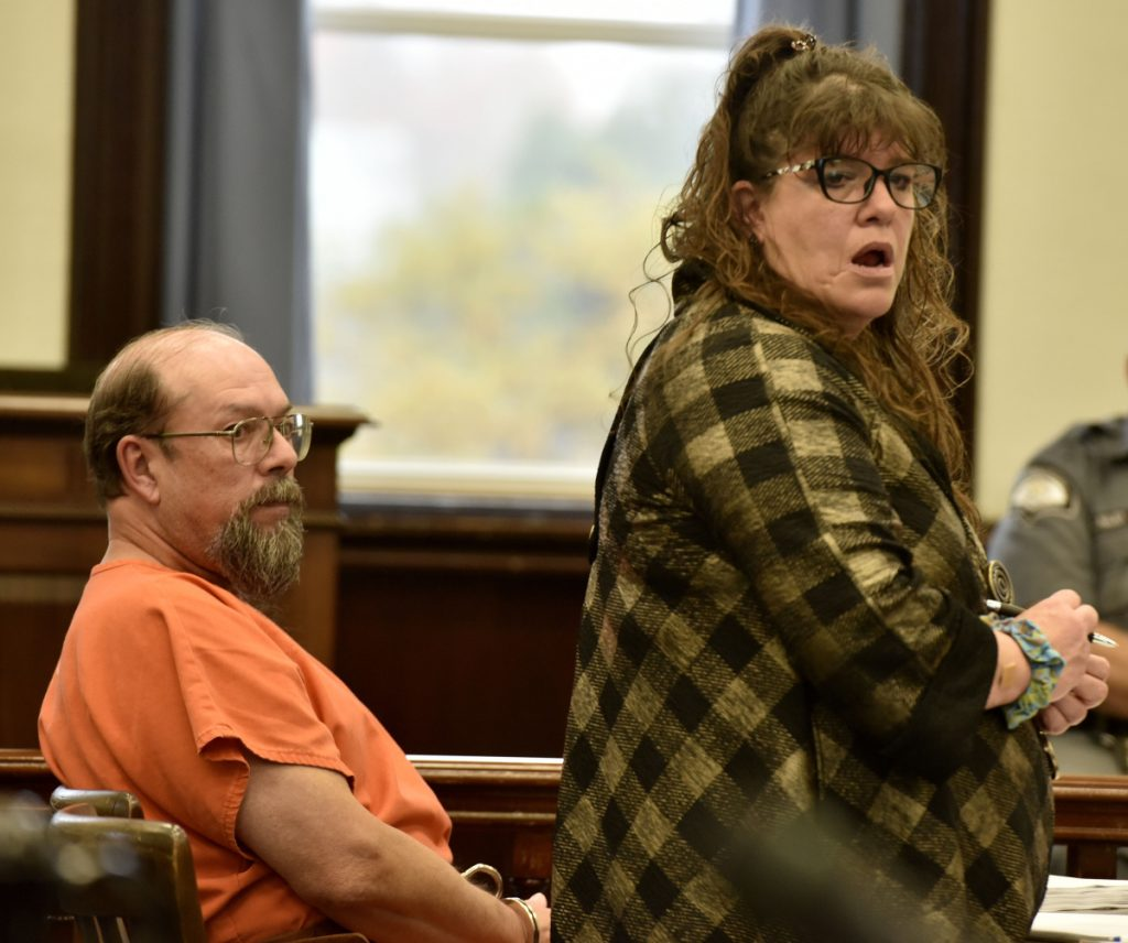 Convicted killer Jay Mercier and his defense attorney, Amy Fairfield, listen as the state makes its case during a hearing in Somerset County Superior Court in Skowhegan on Tuesday.