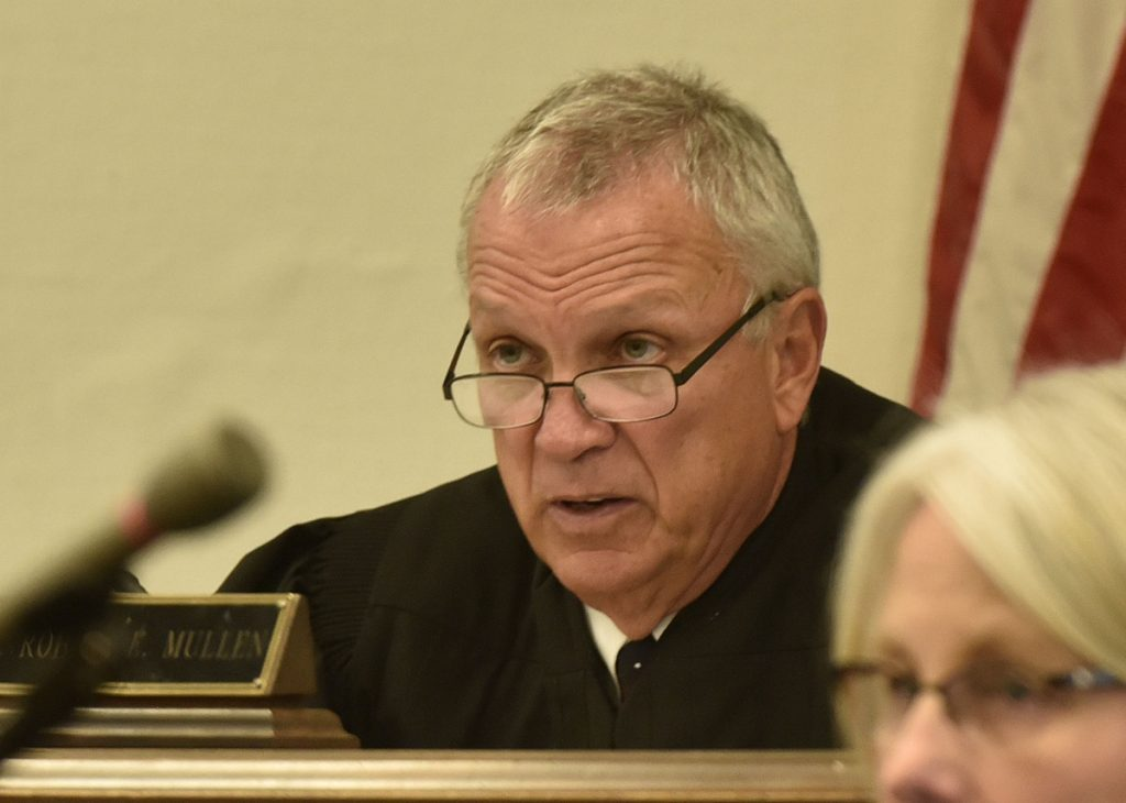 Justice Robert Mullen presided over a hearing for convicted killer Jay Mercier in Somerset County Superior Court in Skowhegan on Tuesday.