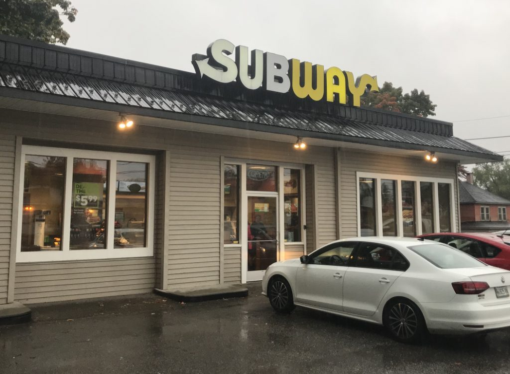 The Bangor Street Subway restaurant in Augusta, as seen shortly after a robbery took place there Tuesday afternoon.