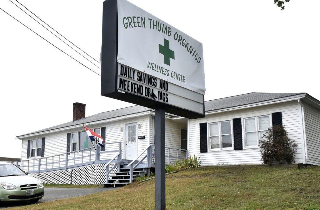 The Green Thumb Organics shop on the Armory Road in Waterville, pictured here Thursday, was recently broken into, and medical marijuana products were stolen.