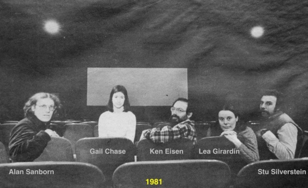 Railroad Square Cinema was created in 1978 by, from left, Alan Sanborn, Gail Chase, Ken Eisen, Lea Girardin and Stu Silverstein, pictured here in 1981.