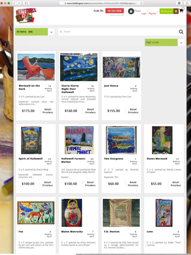 A screenshot of the online auction page for the murals that adorned the construction area during Water Street reconstruction in Hallowell.