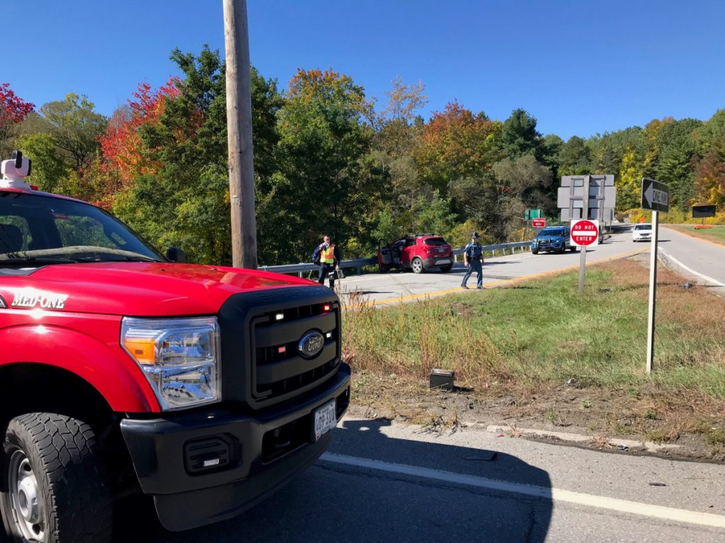 A red Buick driven by Rosemary Hagerty, of Fairfield, eventually stopped after striking a guardrail on the Interstate 95 southbound off-ramp at exit 133 in Fairfield. Hagerty had been traveling south on U.S. Route 201 when a black Jeep driven by Richard Ware, of Clinton, failed to yield while turning left off of U.S. 201 to reach an I-95 on-ramp, according to police.