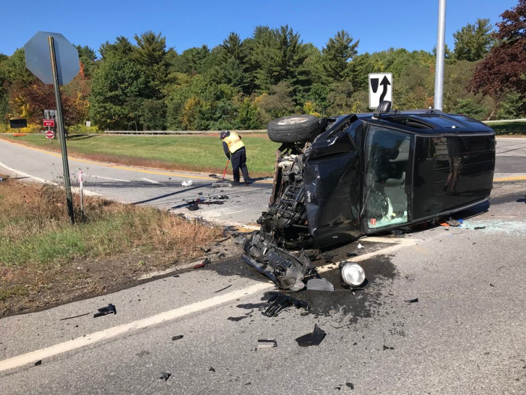 A black Jeep driven by Richard Ware, of Clinton, ended up on its side Friday after Ware failed to yield while turning left off U.S. Route 201 to enter an Interstate 95 on-ramp, police say.