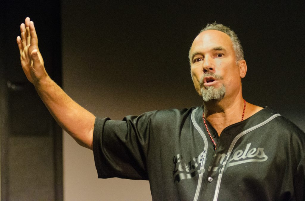 Actor Roger Guenveur Smith speaks Friday at the The Holocaust and Human Rights Center of Maine in Augusta.